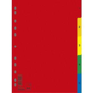 Przekładki DONAU, PP, A4, 230x297mm, 1-5, 5 kart, mix kolorów
