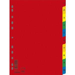 Przekładki DONAU, PP, A4, 230x297mm, 1-10, 10 kart, mix kolorów