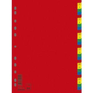 Przekładki DONAU, PP, A4, 230x297mm, 1-31, 31 kart, mix kolorów