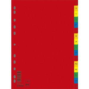 Przekładki DONAU, PP, A4, 230x297mm, A-Z, 16 kart, mix kolorów