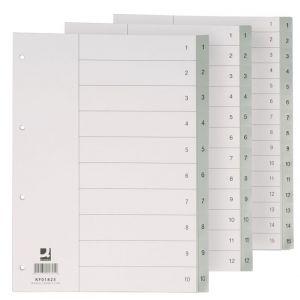 Przekładki Q-CONNECT, PP, A4, 230x297mm, 1-10, 10 kart, szare
