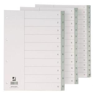Przekładki Q-CONNECT, PP, A4, 230x297mm, 1-12, 12 kart, szare