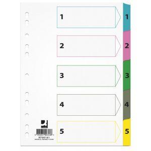 Przekładki Q-CONNECT Mylar, karton, A4, 225x297mm, 1-5, 5 kart, lam. indeks, mix kolorów