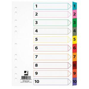Przekładki Q-CONNECT Mylar, karton, A4, 225x297mm, 1-10, 10 kart, lam. indeks, mix kolorów