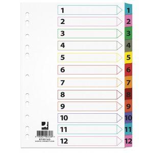 Przekładki Q-CONNECT Mylar, karton, A4, 225x297mm, 1-12, 12 kart, lam. indeks, mix kolorów