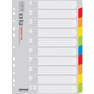 Przekładki OFFICE PRODUCTS, karton, A4, 227x297mm, 10 kart, mix kolorów