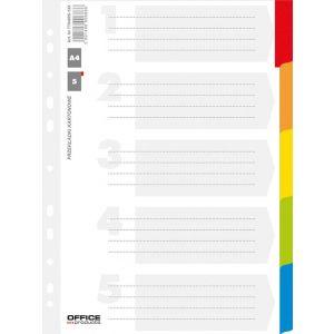 Przekładki OFFICE PRODUCTS, karton, A4, 227x297mm, 5 kart, lam. indeks, mix kolorów