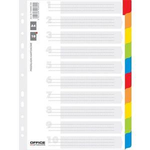 Przekładki OFFICE PRODUCTS, karton, A4, 227x297mm, 10 kart, lam. indeks, mix kolorów
