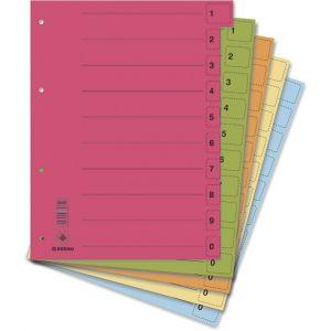 Przekładki DONAU, karton, A4, 235x300mm, 0-9, 50 kart z perforacją, mix kolorów