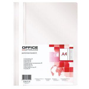 Skoroszyt OFFICE PRODUCTS, PP, A4, miękki, 100/170mikr., biały