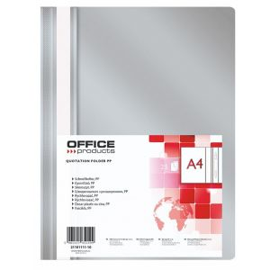 Skoroszyt OFFICE PRODUCTS, PP, A4, miękki, 100/170mikr., szary