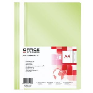 Skoroszyt OFFICE PRODUCTS, PP, A4, miękki, 100/170mikr., jasnozielony