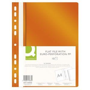 Skoroszyt Q-CONNECT, PP, A4, standard, 120/170mikr., wpinany, pomarańczowy