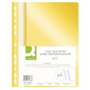 Skoroszyt Q-CONNECT, PP, A4, standard, 120/170mikr., wpinany, żółty