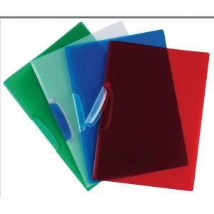 Skoroszyt Q-CONNECT z plastikowym klipsem, PP, A4, 520mikr., transparentny czerwony