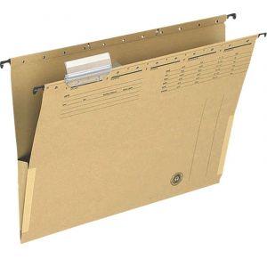 Teczka zawieszkowa Q-CONNECT z boczkami, karton, A4, 250gsm, jasnobrązowa
