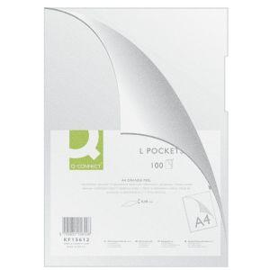 Obwoluta Q-CONNECT typu L, PP, A4, groszkowa, 80mikr., 100szt., transparentna