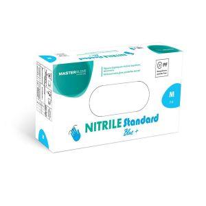 Rękawiczki nitryle niebieskie roz.M, GlovTEC, MASTERGLOVE, bezpudrowe op.100szt. (k/10)