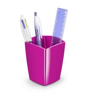 Pojemnik na długopisy CEPPro Gloss, polistyren, różowy