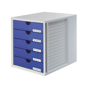 Zestaw 5 szufladek HAN System-Box, polistyren, A4, szaro-niebieski