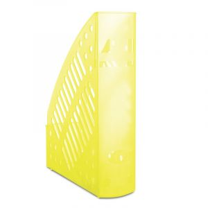 Pojemnik na dokumenty ażurowy DONAU, polistyren, A4, transparentny żółty