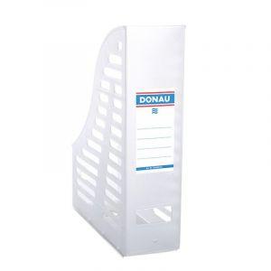 Pojemnik ażurowy na dokumenty DONAU, PP, A4, składany, transparentny biały