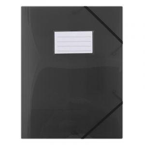 Teczka z gumką DONAU, PP, A4, 480mikr., 3-skrz., półtransparentna czarna