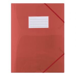 Teczka z gumką DONAU, PP, A4, 480mikr., 3-skrz., półtransparentna czerwona