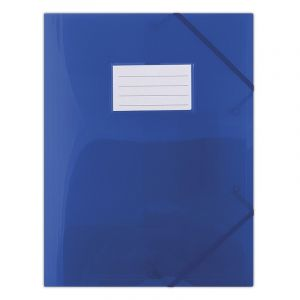 Teczka z gumką DONAU, PP, A4, 480mikr., 3-skrz., półtransparentna niebieska