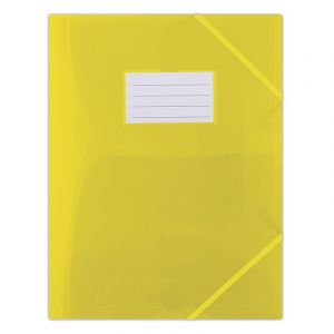 Teczka z gumką DONAU, PP, A4, 480mikr., 3-skrz., półtransparentna żółta