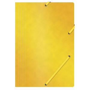 Teczka z gumką OFFICE PRODUCTS, preszpan, A4, 390gsm, 3-skrz., żółta