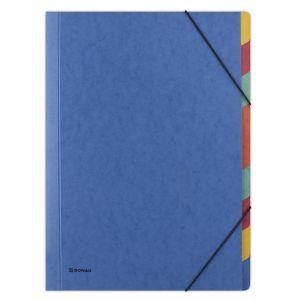 Teczka z gumką DONAU, preszpan, A4, 9 przekładek, niebieska