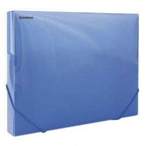 Teczka z gumką przestrz. DONAU, PP, A4/30, 700mikr., transparentna niebieska
