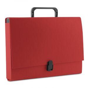 Teczka-pudełko DONAU, PP, A4/5cm, z rączką i zamkiem, czerwona