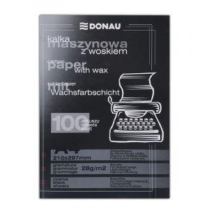 Kalka maszynowa DONAU z woskiem, A4, 100szt., czarna