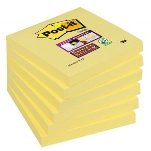 Bloczek samoprzylepny POST-IT® Super Sticky (654-6SSCY-EU), 76x76mm, 1x90 kart., żółty