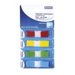 Zakładki indeksujące DONAU, PP, 12x45mm, 4x35 kart., mix kolorów