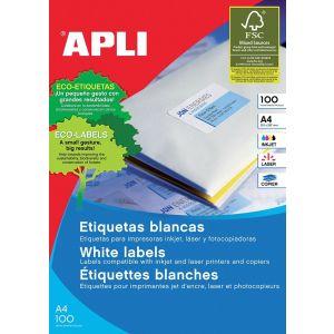 Etykiety uniwersalne APLI, 105x29mm, prostokątne, białe 100 ark.