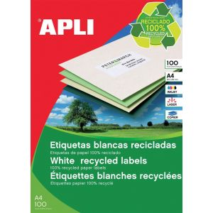 Etykiety ekologiczne APLI, 105x148mm, prostokątne, białe