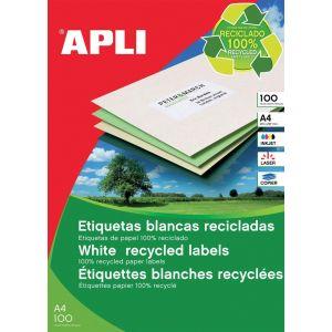 Etykiety ekologiczne APLI, 210x297mm, prostokątne, białe