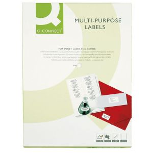 Universal Labels Q-CONNECT, 38. 1x21. 2mm, rectangle, white, 100 sheets