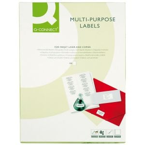 Universal Labels Q-CONNECT, 52. 5x29. 7mm, rectangle, white, 100 sheets