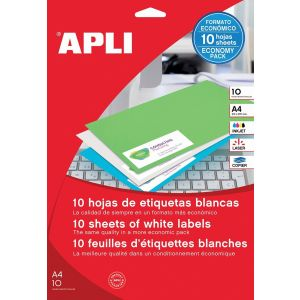 Universal Labels APLI 25. 4x10mm, rounded, white, 10 sheets