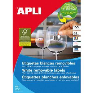Etykiety usuwalne APLI 17,8x10,0mm, zaokrąglone, białe, 25 ark.