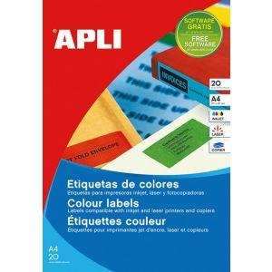 Etykiety kolorowe APLI, 210x297mm, prostokątne, czerwone, 20 ark.
