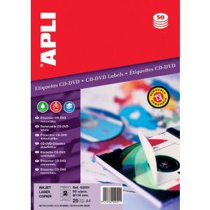 Etykiety na płyty CD/DVD APLI, średnica 114/41mm, okrągłe, białe