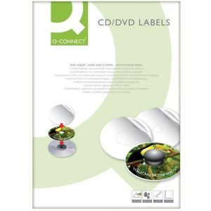 Etykiety na płyty CD/DVD Q-CONNECT, średnica 117mm, okrągłe, białe