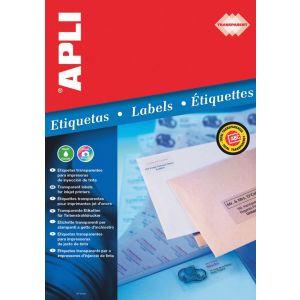Etykiety poliestrowe APLI, 210x297mm, prostokątne, transparentne 10 ark.