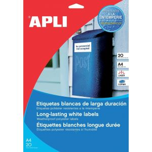 Etykiety poliestrowe APLI, 210x297mm, prostokątne, białe 20 ark.