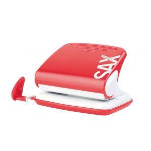 Dziurkacz SAXDesign 318, dziurkuje do 20 kartek, czerwony